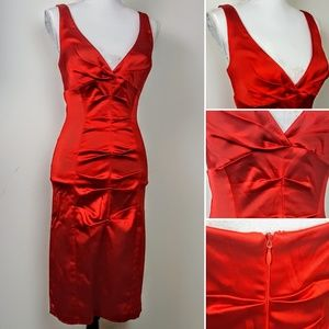 CACHE Formal Cocktail Dress Red Ruched Sexy, 10